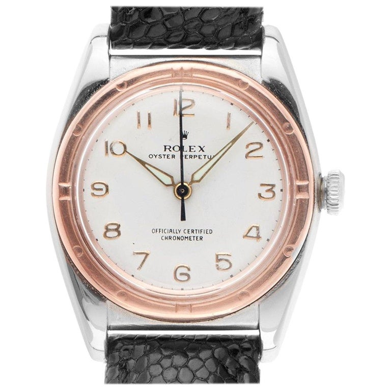 1940s Rolex Oyster Perpetual Bubble Back Wristwatch Steel Rose Gold Automatic For Sale