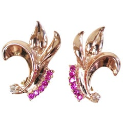 1940s Rose Gold Synthetic Ruby Omega Back Earrings with Two Diamonds, 14 Karat
