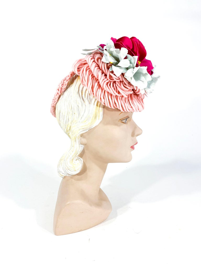Gray 1940's Rose Pink Crochet Wool Cocktail Hat For Sale