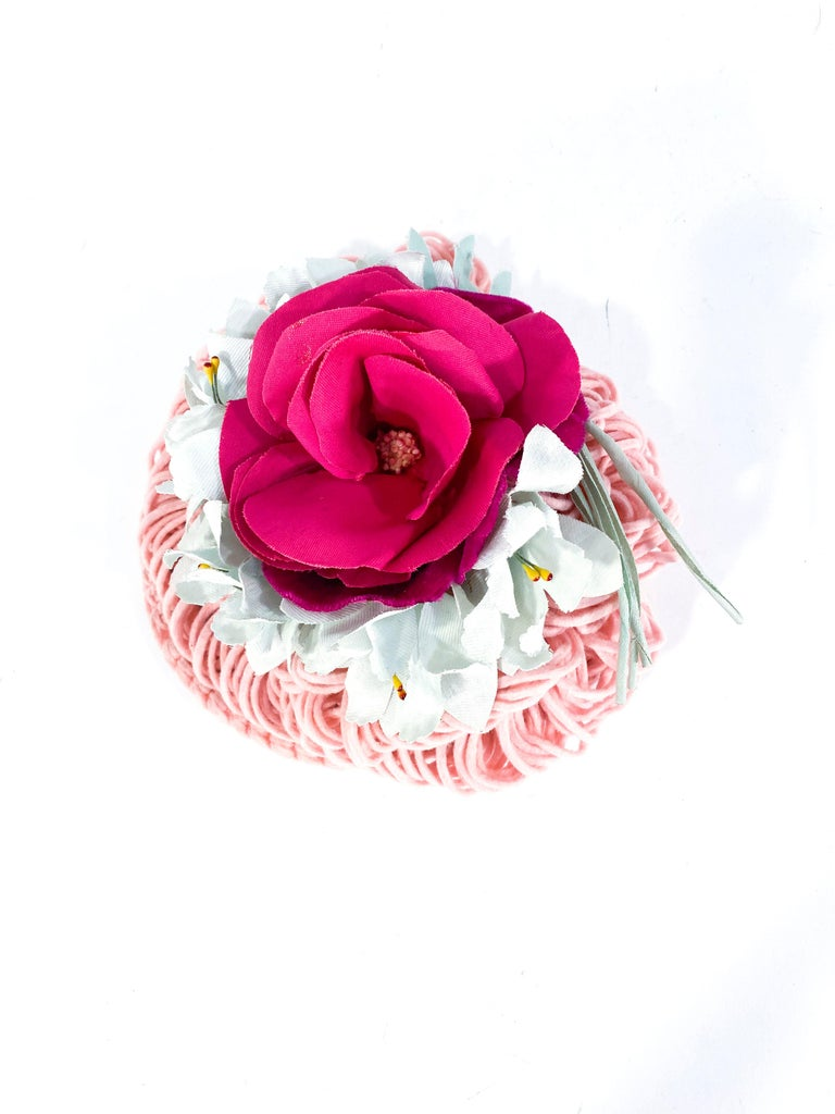 Women's 1940's Rose Pink Crochet Wool Cocktail Hat For Sale