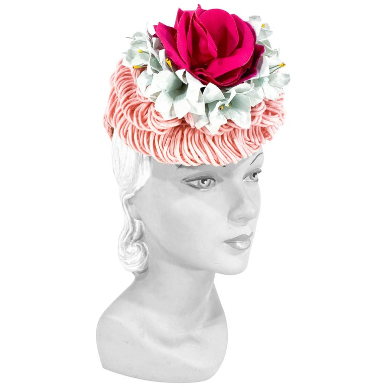1940's Rose Pink Crochet Wool Cocktail Hat For Sale
