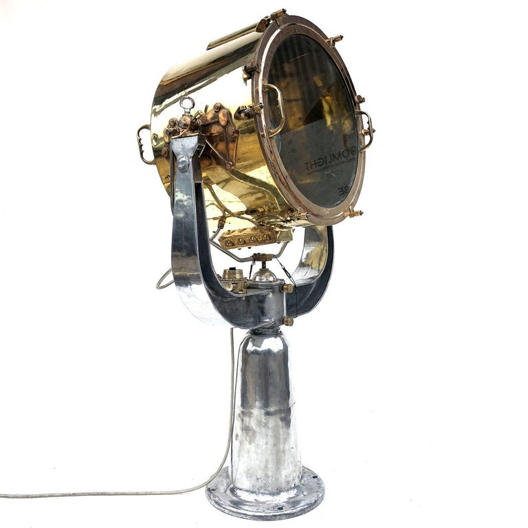 Industrial 1940s Rotherham's British Brass, Bronze and Aluminium Naval Searchlight For Sale
