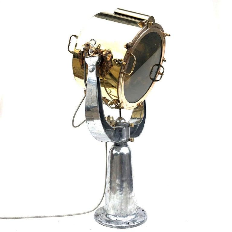 Aluminum 1940s Rotherham's British Brass, Bronze and Aluminium Naval Searchlight For Sale