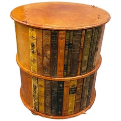1940s Round Leather Library or Side Table with Faux Book Doors