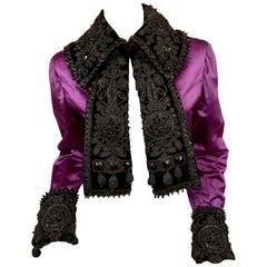 1940's Royal Purple Satin Jacket Trimmed with Victorian Beadwork on Black Velvet