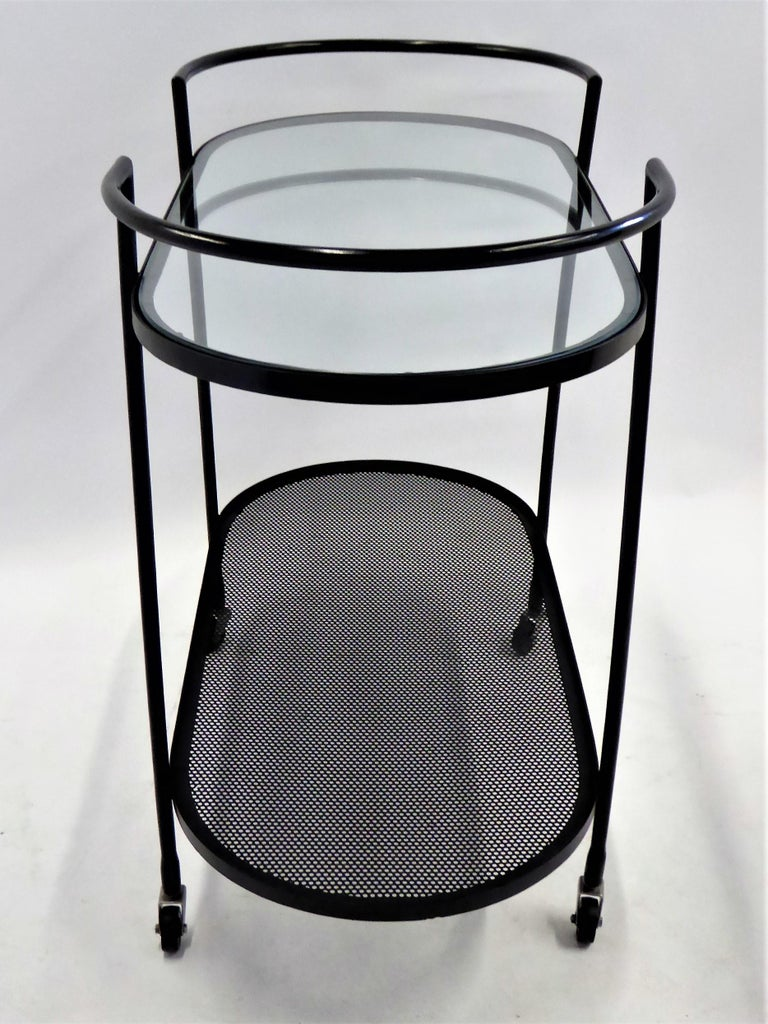 Mid-Century Modern 1940s Royere Mategot Style Wrought Iron Rolling Cart For Sale