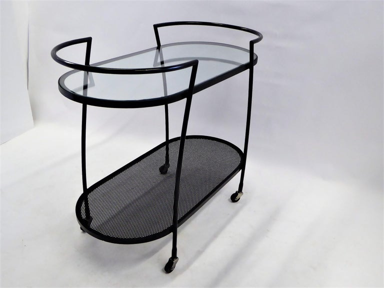 American 1940s Royere Mategot Style Wrought Iron Rolling Cart For Sale