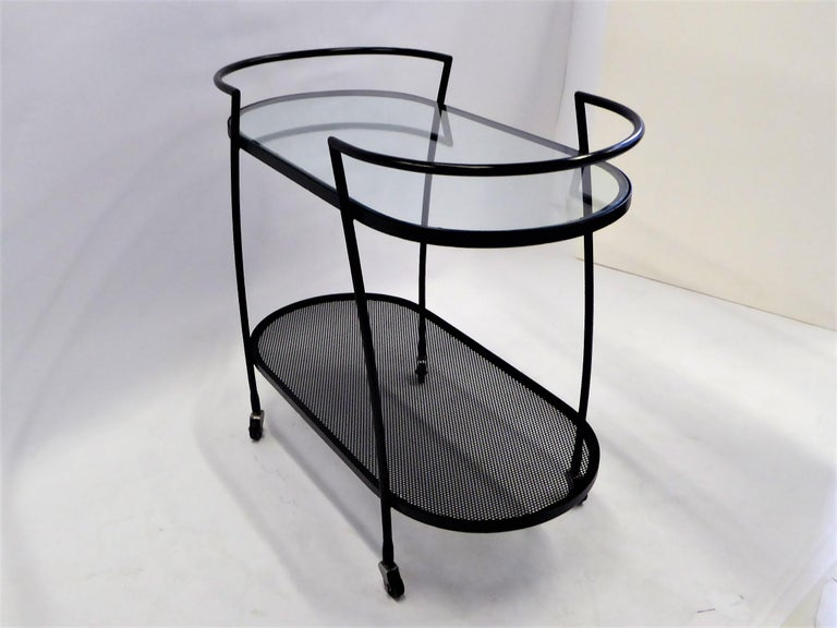 Patinated 1940s Royere Mategot Style Wrought Iron Rolling Cart For Sale