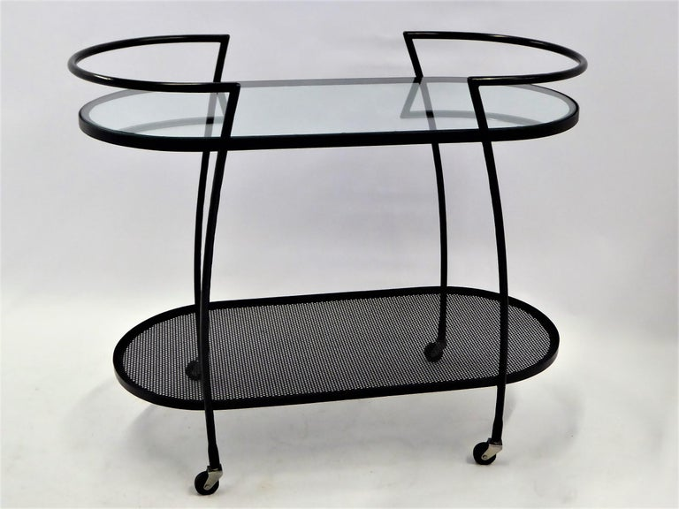 1940s Royere Mategot Style Wrought Iron Rolling Cart In Good Condition For Sale In Miami, FL