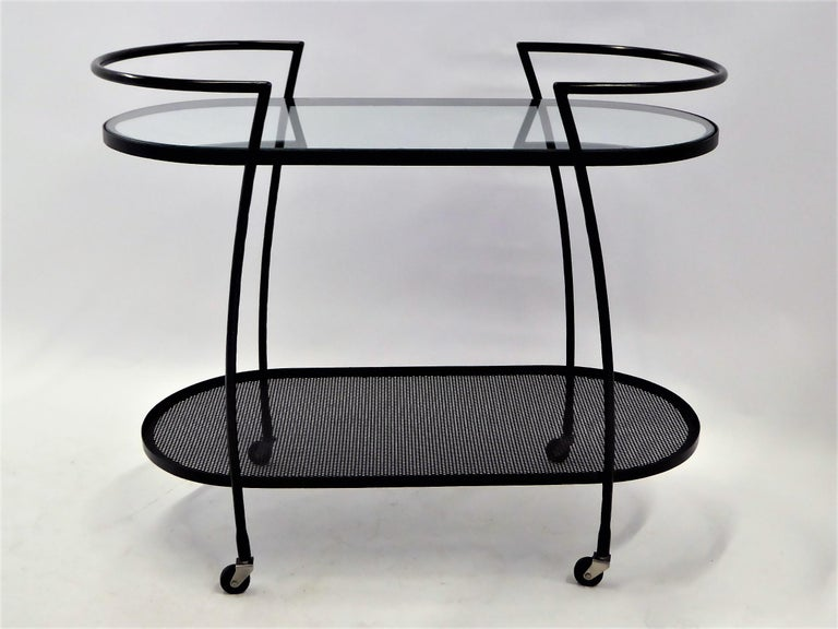 Mid-20th Century 1940s Royere Mategot Style Wrought Iron Rolling Cart For Sale