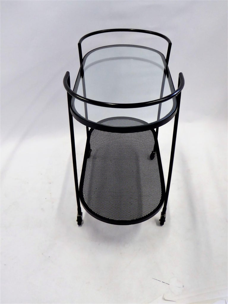 1940s Royere Mategot Style Wrought Iron Rolling Cart For Sale 1