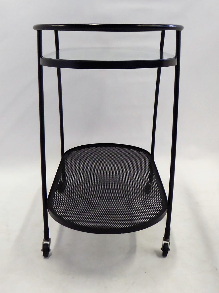 1940s Royere Mategot Style Wrought Iron Rolling Cart For Sale 2