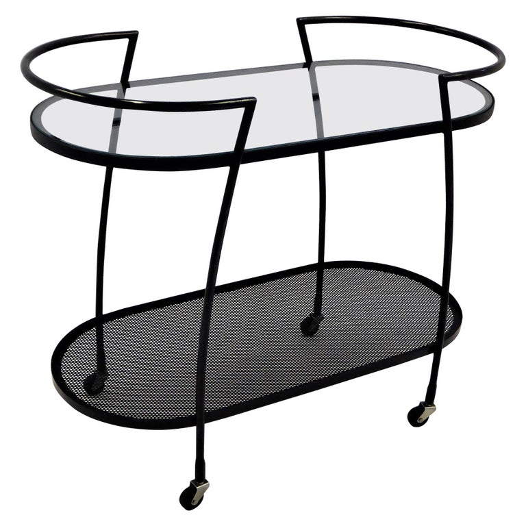 1940s Royere Mategot Style Wrought Iron Rolling Cart For Sale