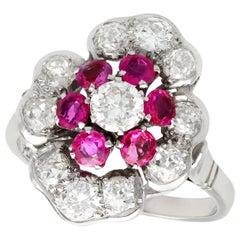 1940s Ruby and 1.63 Carat Diamond Platinum Cocktail Ring