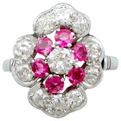 1940s Ruby and 1.63 Carat Diamond Platinum Dress Ring