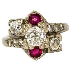 1940s Ruby and Diamond 14 Karat White Gold Cocktail Ring