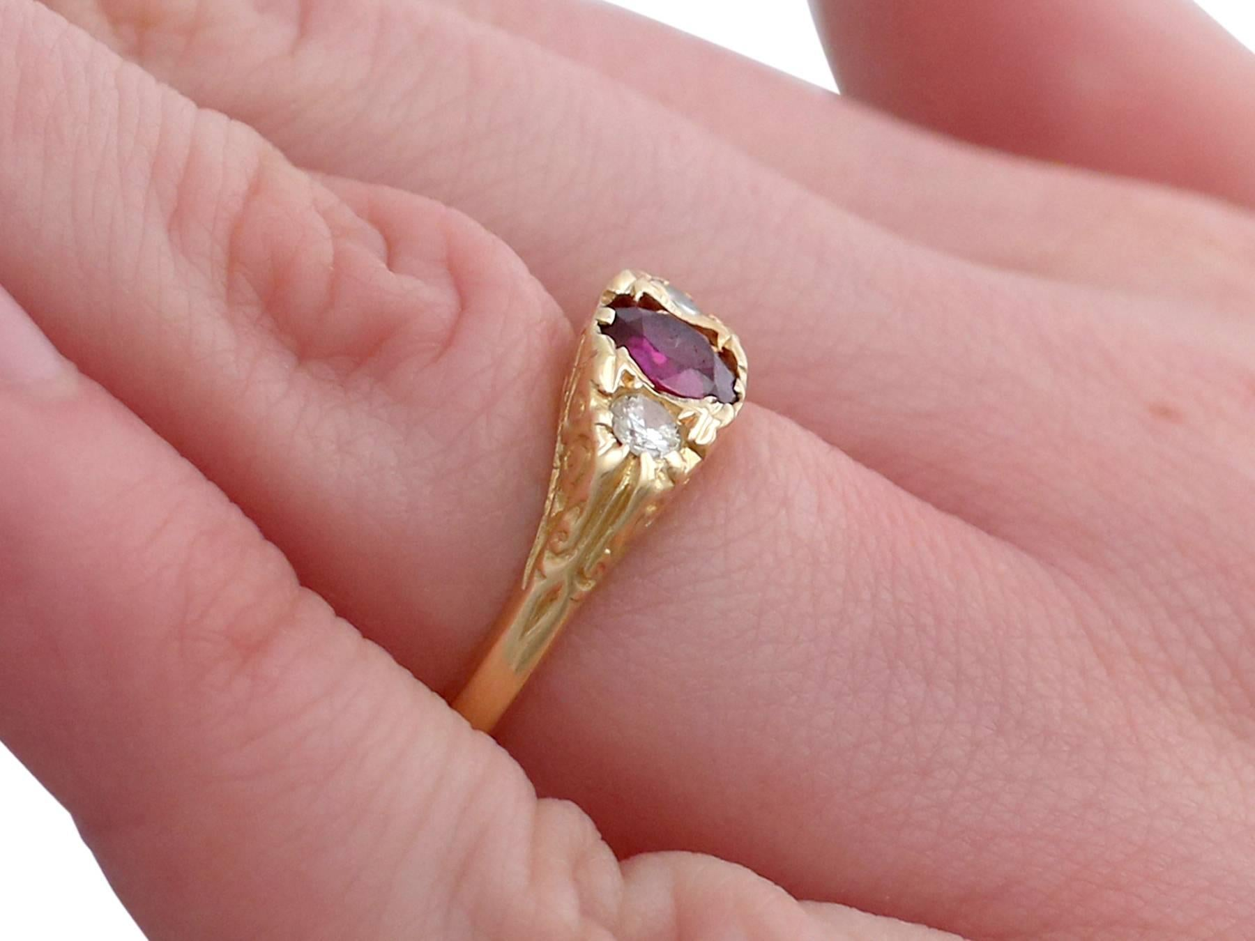 1940s Ruby and Diamond 18 Karat Yellow Gold Dress Ring For Sale at ...