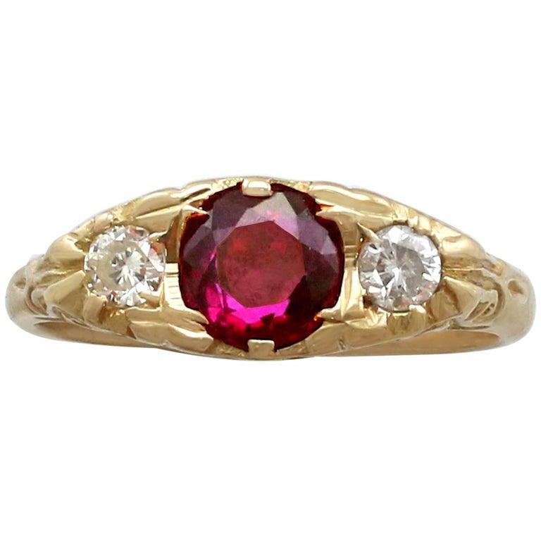 1940s Ruby and Diamond 18 Karat Yellow Gold Dress Ring