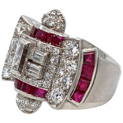 1940s Ruby and Diamond Platinum Ring
