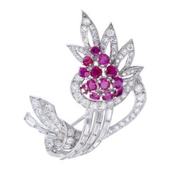 1940s Ruby Diamond Platinum Flower Brooch