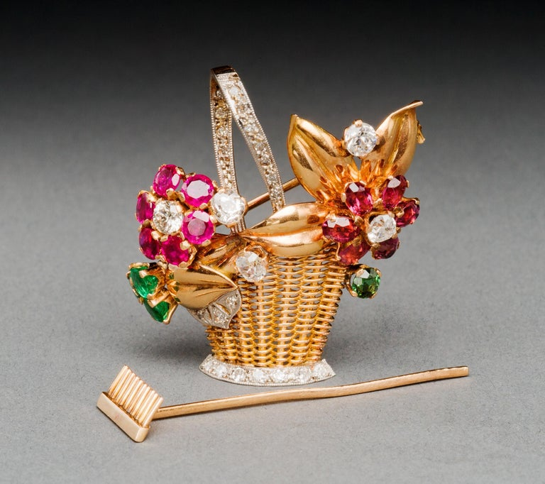 Retro 1940s Ruby, Emerald, Tourmaline and Diamond Gold Flower Basket Pin/Pendant For Sale