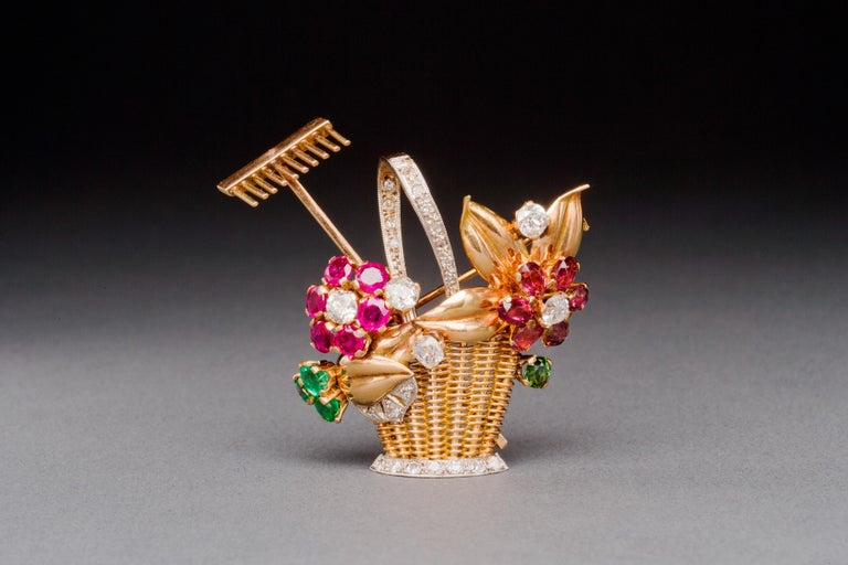 1940s Ruby, Emerald, Tourmaline and Diamond Gold Flower Basket Pin/Pendant For Sale 8