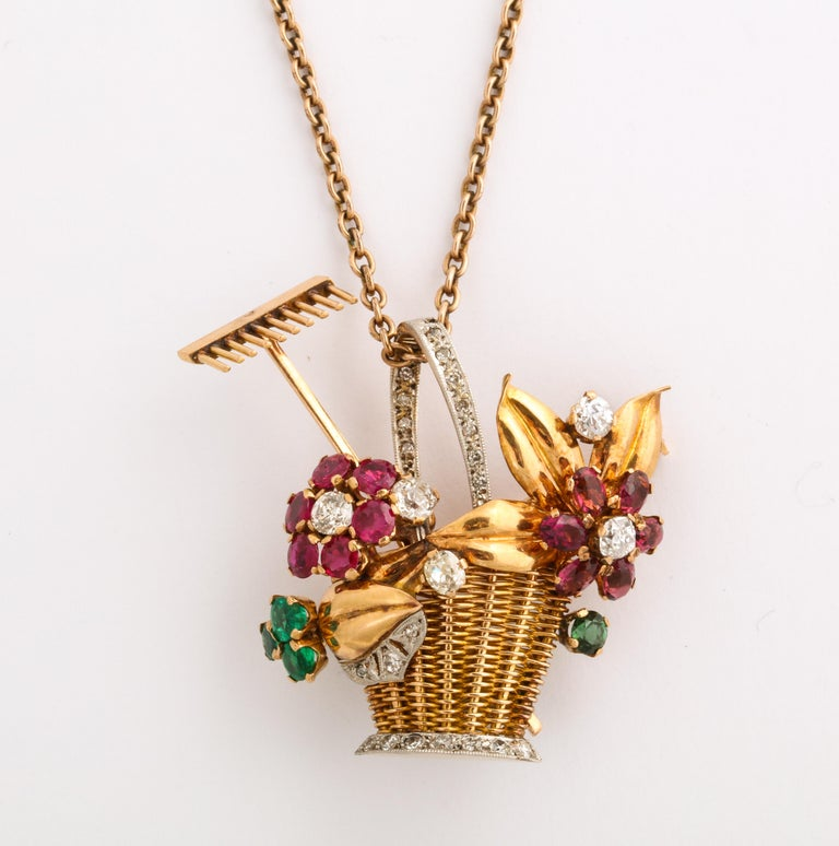 1940s Ruby, Emerald, Tourmaline and Diamond Gold Flower Basket Pin/Pendant For Sale 9