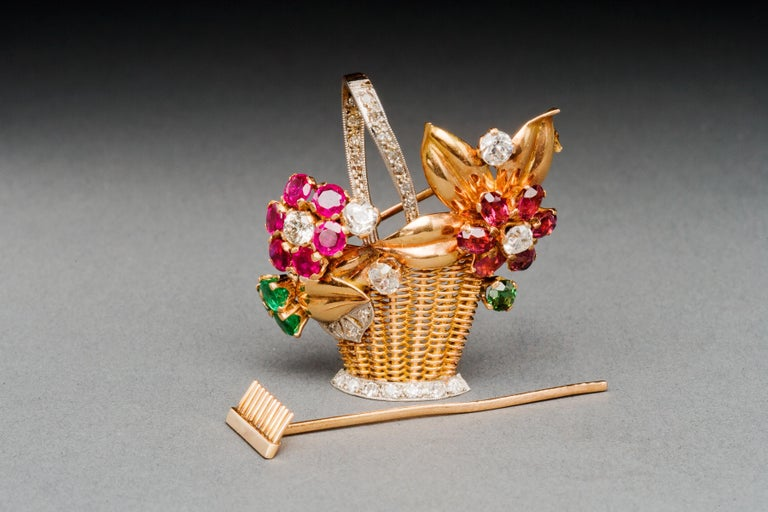 1940s Ruby, Emerald, Tourmaline and Diamond Gold Flower Basket Pin/Pendant For Sale 11