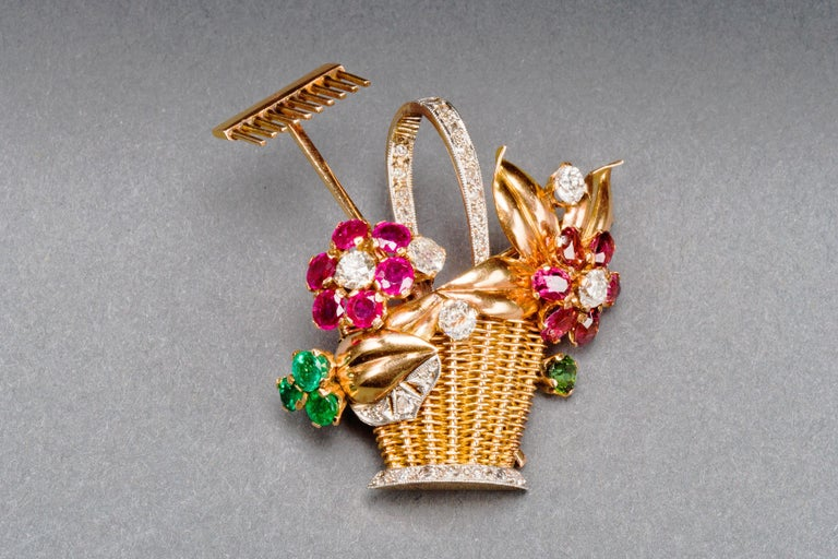 1940s Ruby, Emerald, Tourmaline and Diamond Gold Flower Basket Pin/Pendant For Sale 13