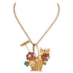 1940s Ruby, Emerald, Tourmaline and Diamond Gold Flower Basket Pin/Pendant