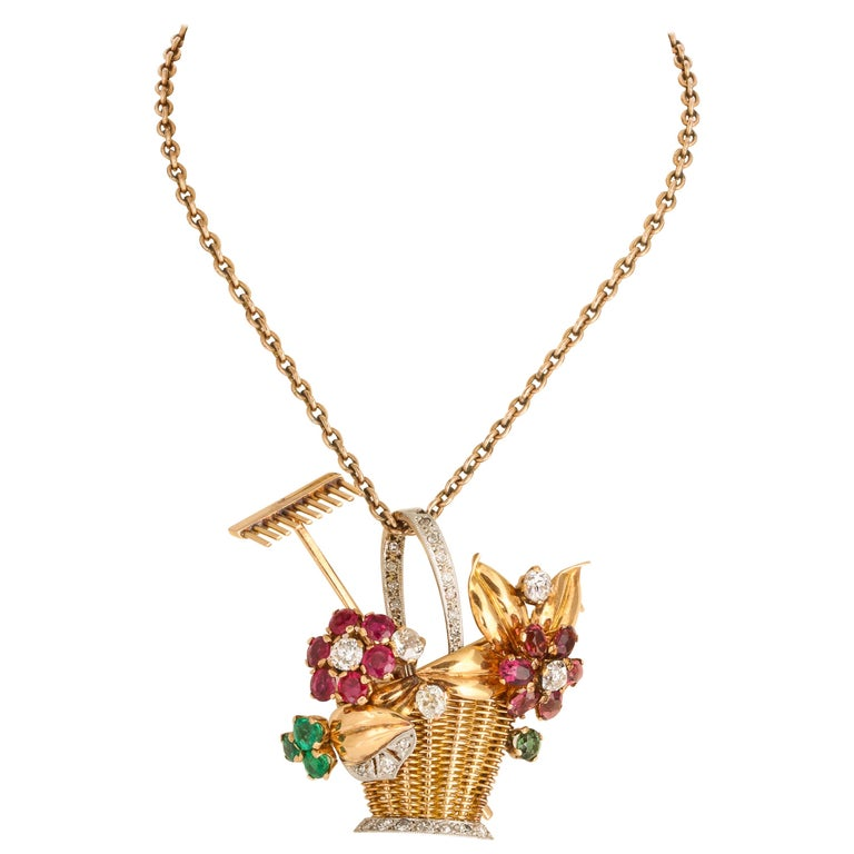 1940s Ruby, Emerald, Tourmaline and Diamond Gold Flower Basket Pin/Pendant For Sale