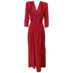 1940's Ruby Red Crepe Evening Gown with Burgundy Bugle Beaded Bodice