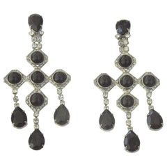 "1940s Runway Pair Onyx Diamente Sterling Chandelier Earring- 4 3/4"" long"