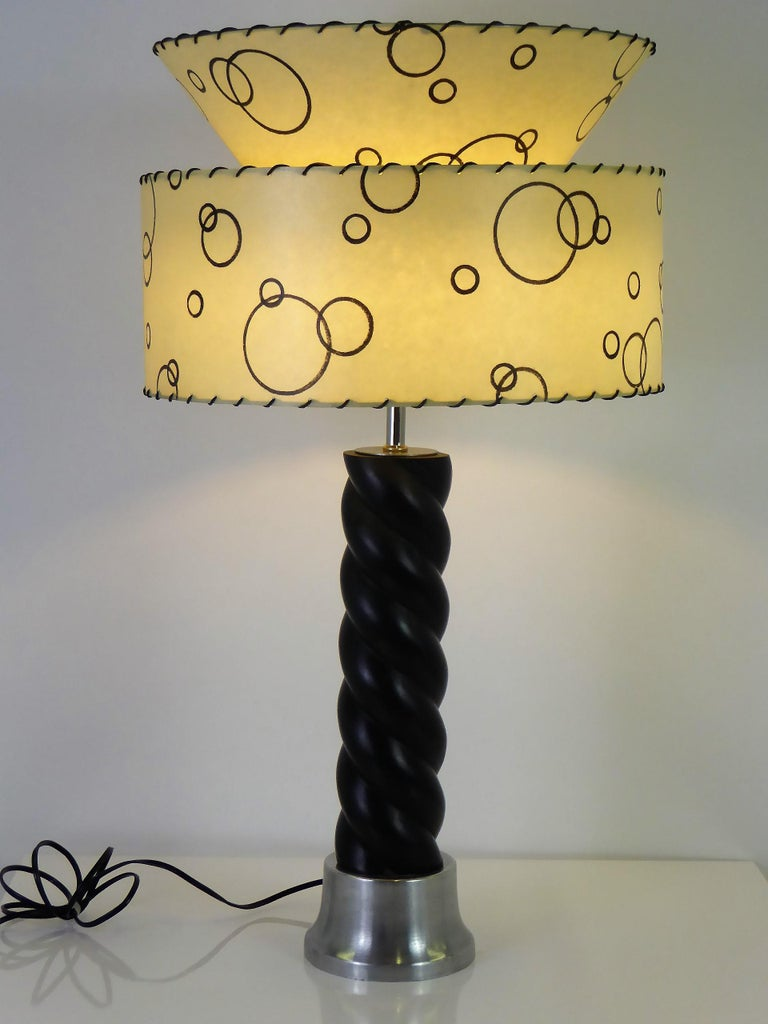 American 1940s Russell Wright Spun Aluminum and Black Wood Table Lamp For Sale