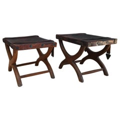 1940s Rustic Spanish Colonial Curule Bench Leather Seat & Straps Set of 2 Stools