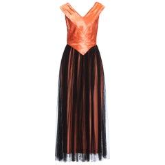 1940S Salmon Pink Acetate Satin & Rayon Net Gown