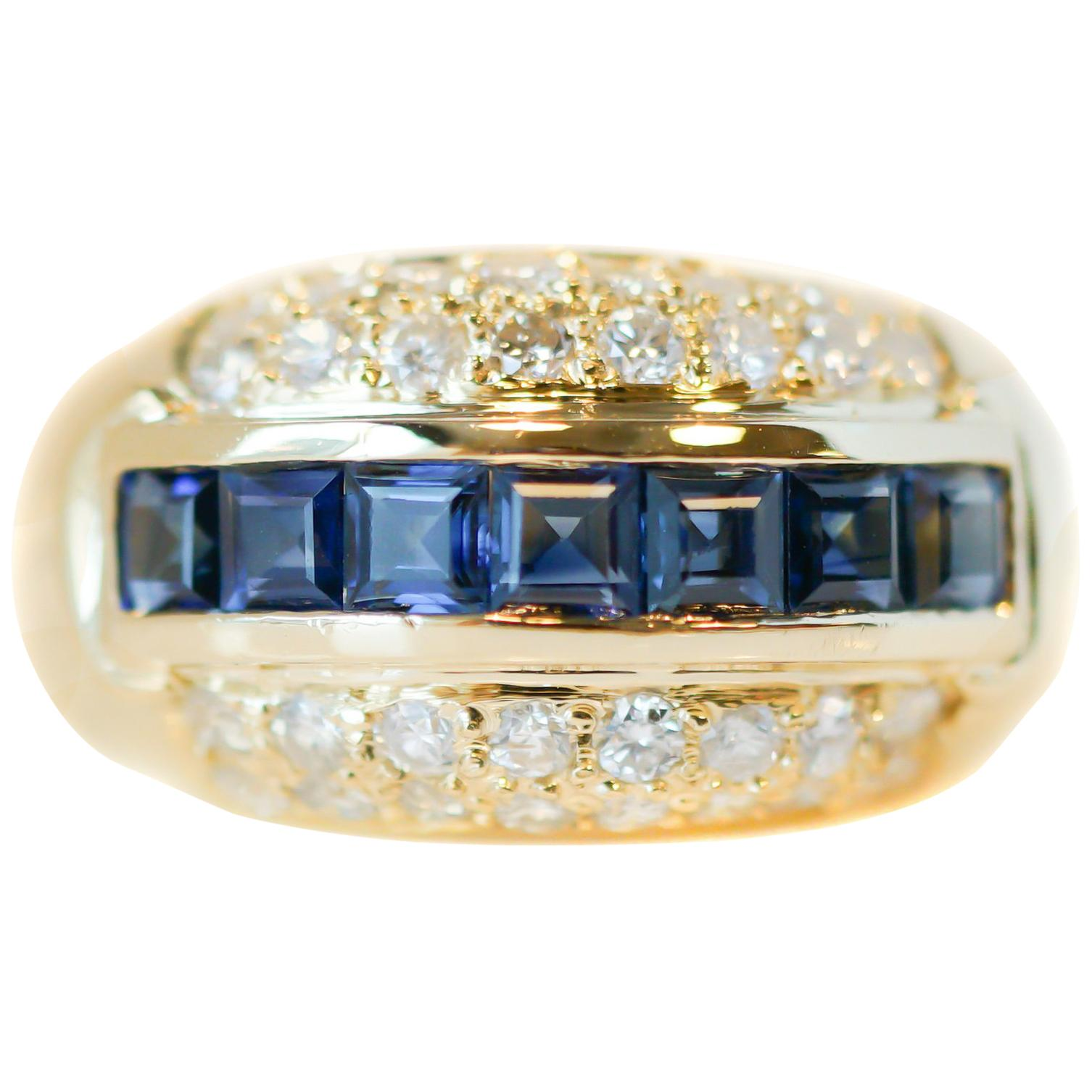 1940s Sapphire and Diamond 18 Karat Yellow Gold Cocktail Ring