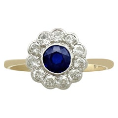 1940s Sapphire and Diamond Yellow Gold Cluster Ring