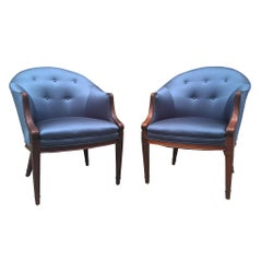 1940s Sapphire Silk Easy Chairs by Frits Henningsen, a Pair