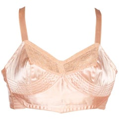 1940'S Nude Peach Cotton & Rayon Satin Bra From Paris With Mother-Of-Pearl Butt