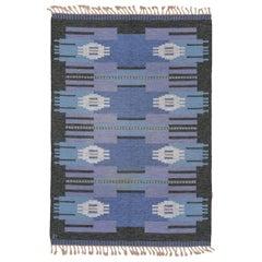 1940s Scandinavian Rollaken Flatweave Rug, Blue Field, Charcoal Gray Border