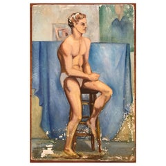 1940s Seated Male Study, Oil on Board