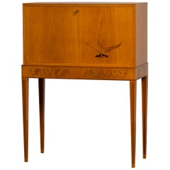 1940s, Secretaire Made of Elm Veneer, Sweden