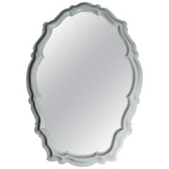 1940s Serge Roche Style White Painted Wood Mirror