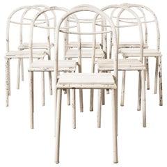 1940s Set of Nine Rene Herbst Tubular Metal Garden Chairs