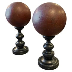 1940s Set of Two Art Deco Spheres on a Black Painted Wood Stand