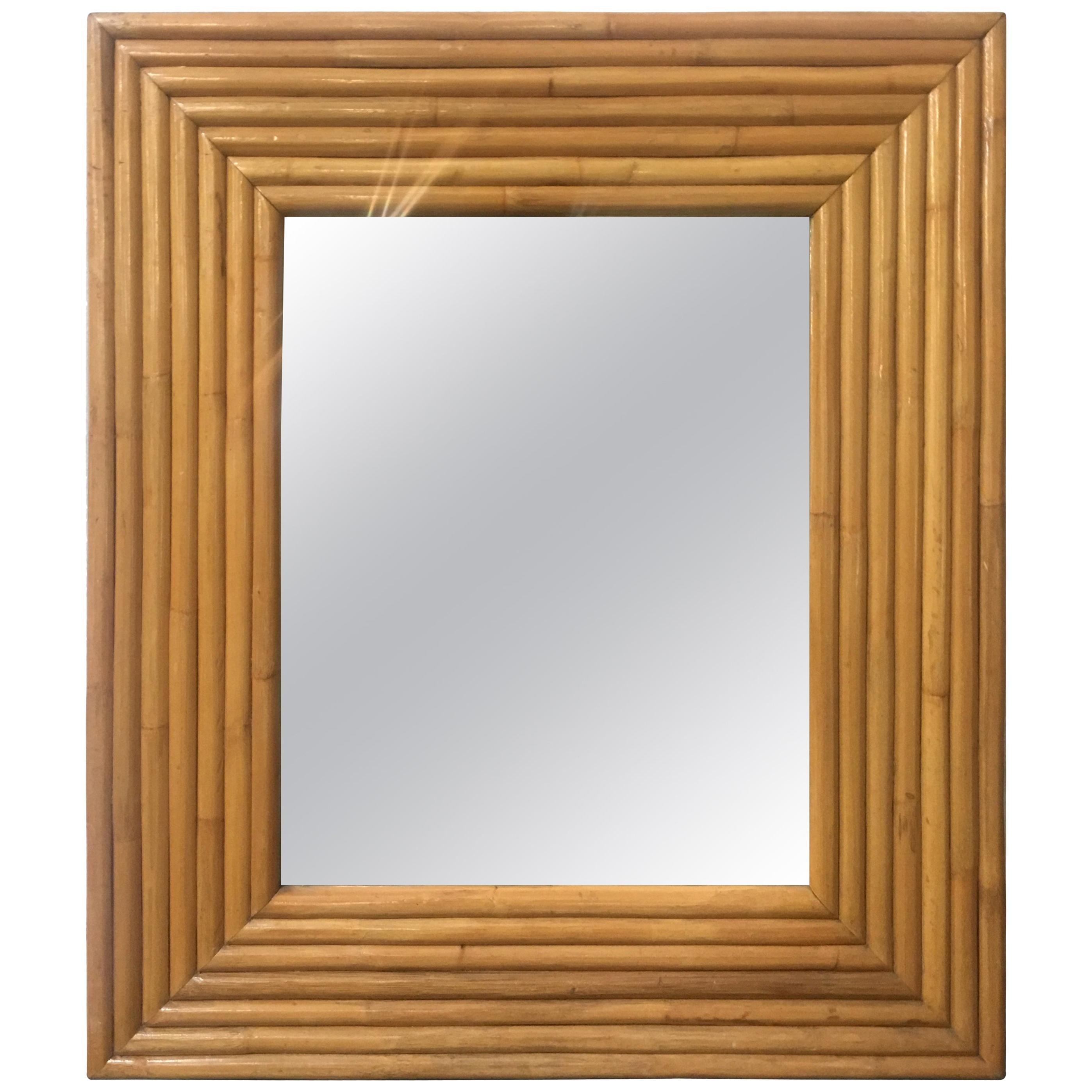 1940s Seven-Strand Square Rattan Mirror, circa 1948 Unused