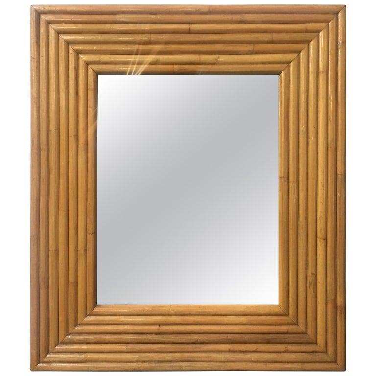 1940s Seven-Strand Square Rattan Mirror For Sale