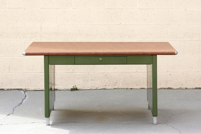 1940s Shaw Walker Panel Leg Tanker Table Refinished In