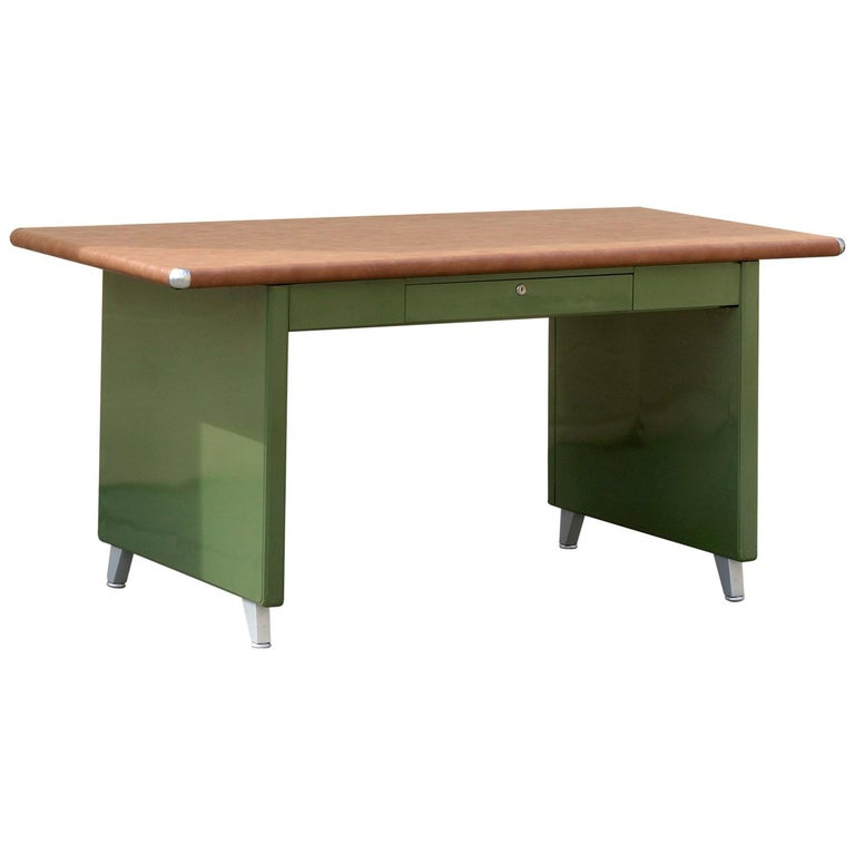 1940s Shaw Walker Panel Leg Tanker Table Refinished In Army Green